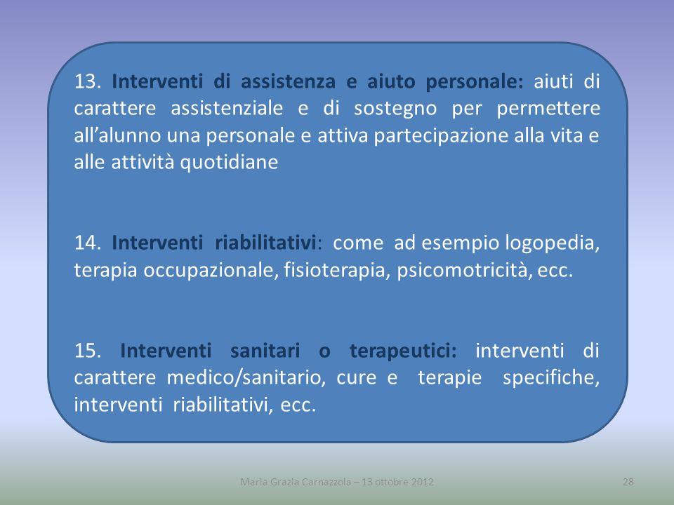 13. Interventi di assistenza e aiuto personale: aiuti di carattere assistenziale e di sostegno per permettere allalunno una personale e attiva parteci