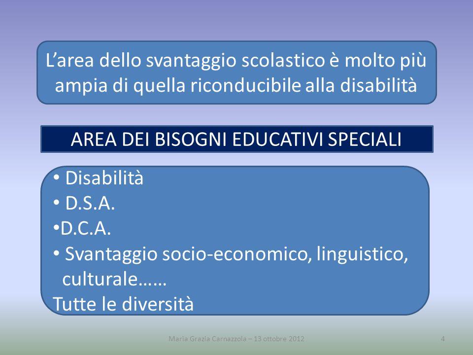 Maria Grazia Carnazzola – 13 ottobre 20124 Larea dello svantaggio scolastico è molto più ampia di quella riconducibile alla disabilità AREA DEI BISOGN