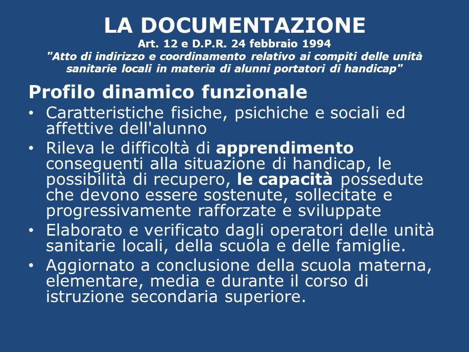 LA DOCUMENTAZIONE Art. 12 e D.P.R. 24 febbraio 1994
