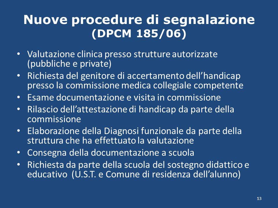 Nuove procedure di segnalazione (DPCM 185/06) Valutazione clinica presso strutture autorizzate (pubbliche e private) Richiesta del genitore di accerta