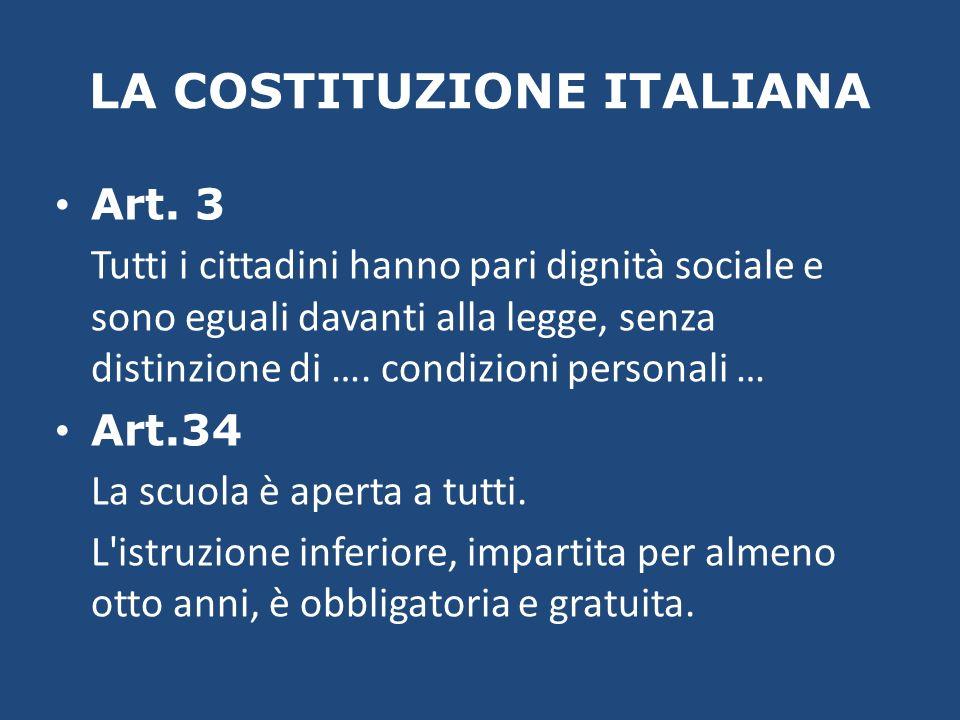LA COSTITUZIONE ITALIANA Art. 3 Tutti i cittadini hanno pari dignità sociale e sono eguali davanti alla legge, senza distinzione di …. condizioni pers