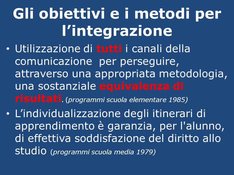 Gli obiettivi e i metodi per lintegrazione Utilizzazione di tutti i canali della comunicazione per perseguire, attraverso una appropriata metodologia,