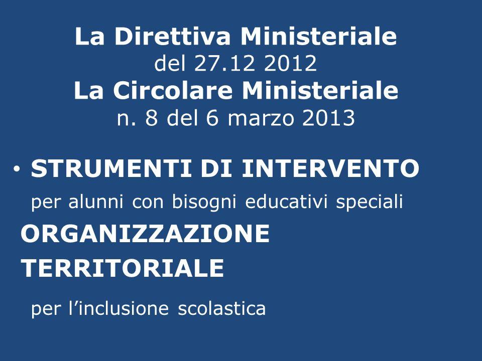 La Direttiva Ministeriale del 27.12 2012 La Circolare Ministeriale n. 8 del 6 marzo 2013 STRUMENTI DI INTERVENTO per alunni con bisogni educativi spec
