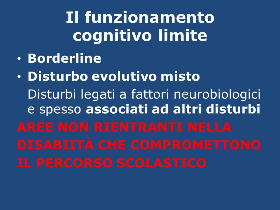 Il funzionamento cognitivo limite Borderline Disturbo evolutivo misto Disturbi legati a fattori neurobiologici e spesso associati ad altri disturbi AR