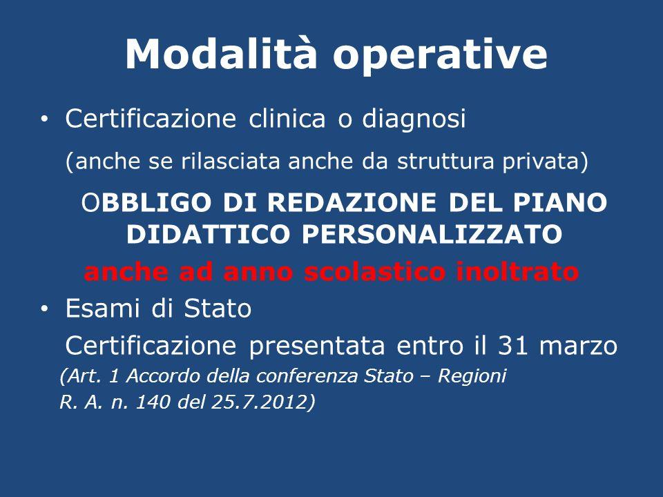 Modalità operative Certificazione clinica o diagnosi (anche se rilasciata anche da struttura privata) OBBLIGO DI REDAZIONE DEL PIANO DIDATTICO PERSONA
