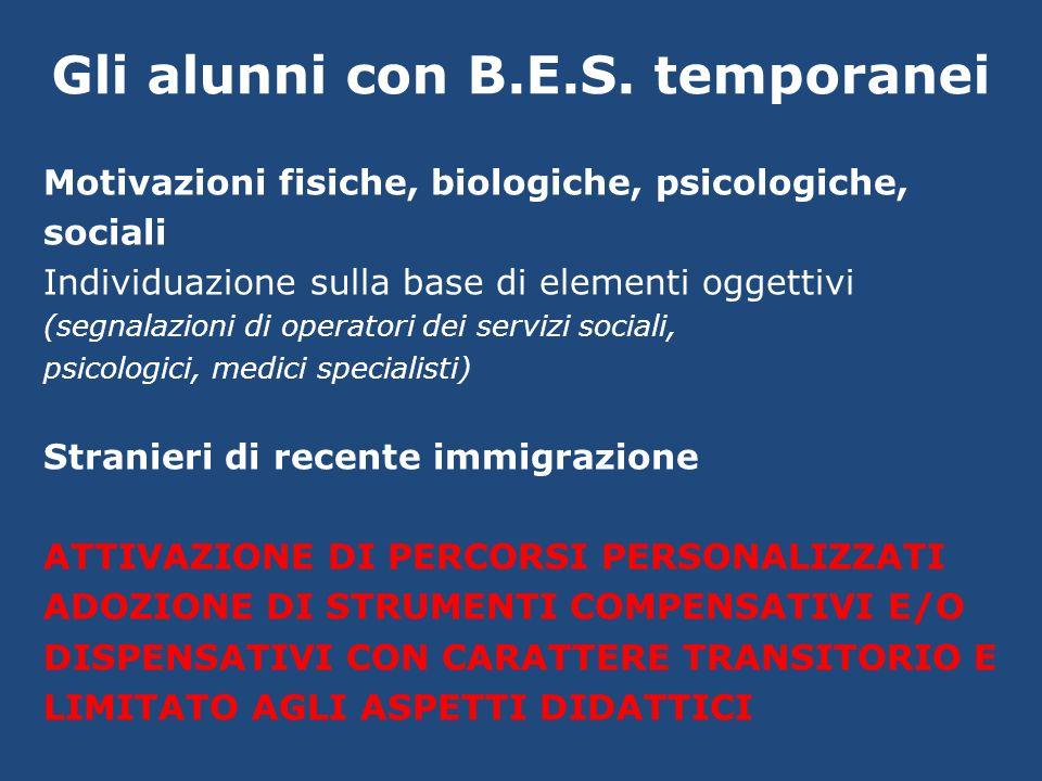 Gli alunni con B.E.S. temporanei Motivazioni fisiche, biologiche, psicologiche, sociali Individuazione sulla base di elementi oggettivi (segnalazioni