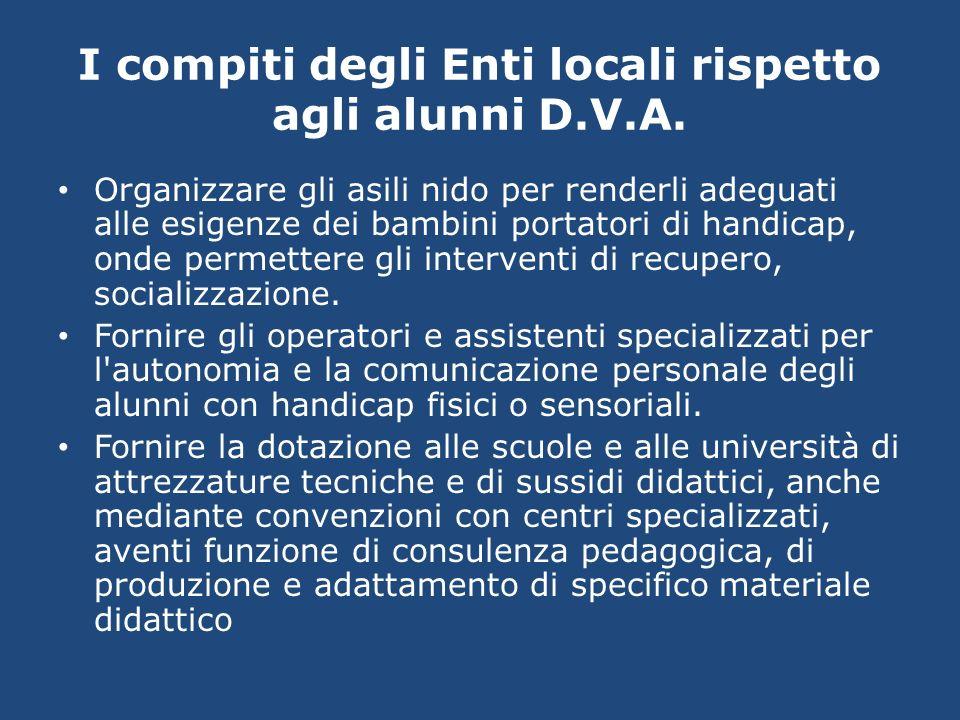 I compiti degli Enti locali rispetto agli alunni D.V.A. Organizzare gli asili nido per renderli adeguati alle esigenze dei bambini portatori di handic