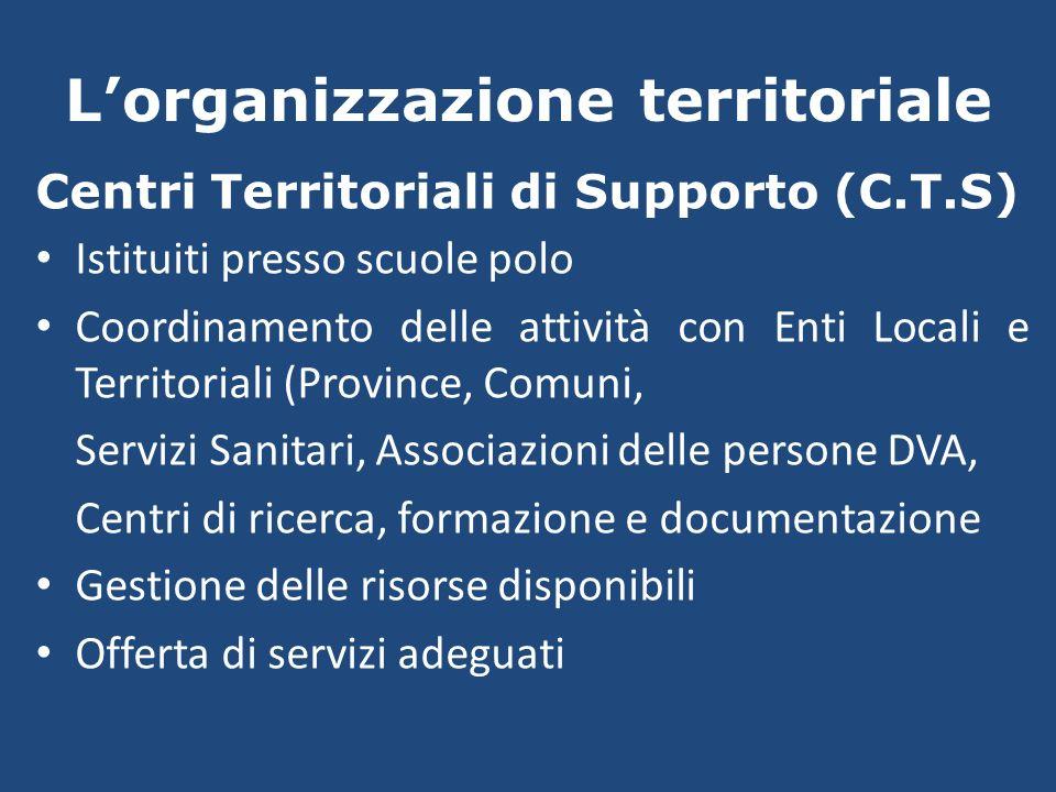 Lorganizzazione territoriale Centri Territoriali di Supporto (C.T.S) Istituiti presso scuole polo Coordinamento delle attività con Enti Locali e Terri