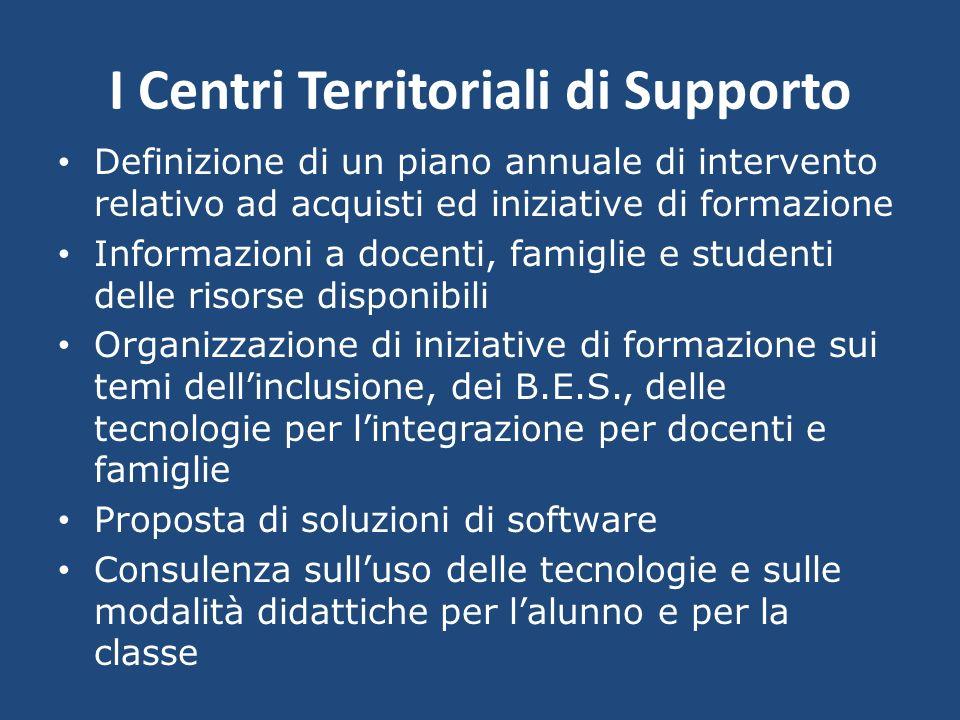 I Centri Territoriali di Supporto Definizione di un piano annuale di intervento relativo ad acquisti ed iniziative di formazione Informazioni a docent