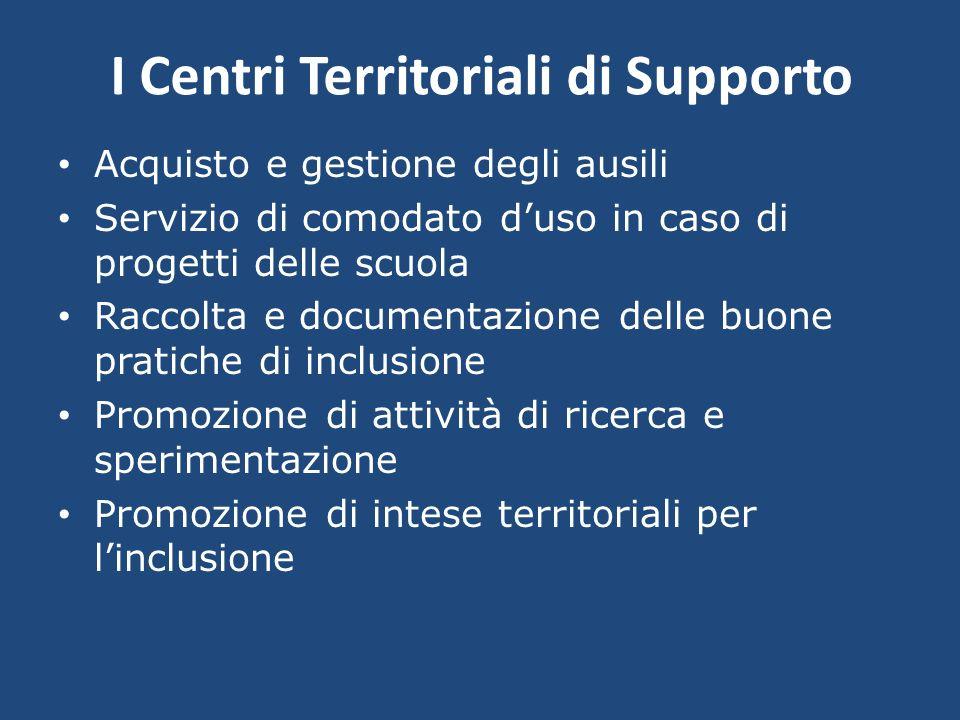I Centri Territoriali di Supporto Acquisto e gestione degli ausili Servizio di comodato duso in caso di progetti delle scuola Raccolta e documentazion