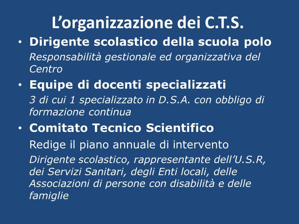 Lorganizzazione dei C.T.S. Dirigente scolastico della scuola polo Responsabilità gestionale ed organizzativa del Centro Equipe di docenti specializzat