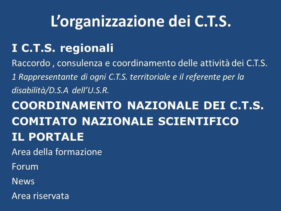 Lorganizzazione dei C.T.S. I C.T.S. regionali Raccordo, consulenza e coordinamento delle attività dei C.T.S. 1 Rappresentante di ogni C.T.S. territori