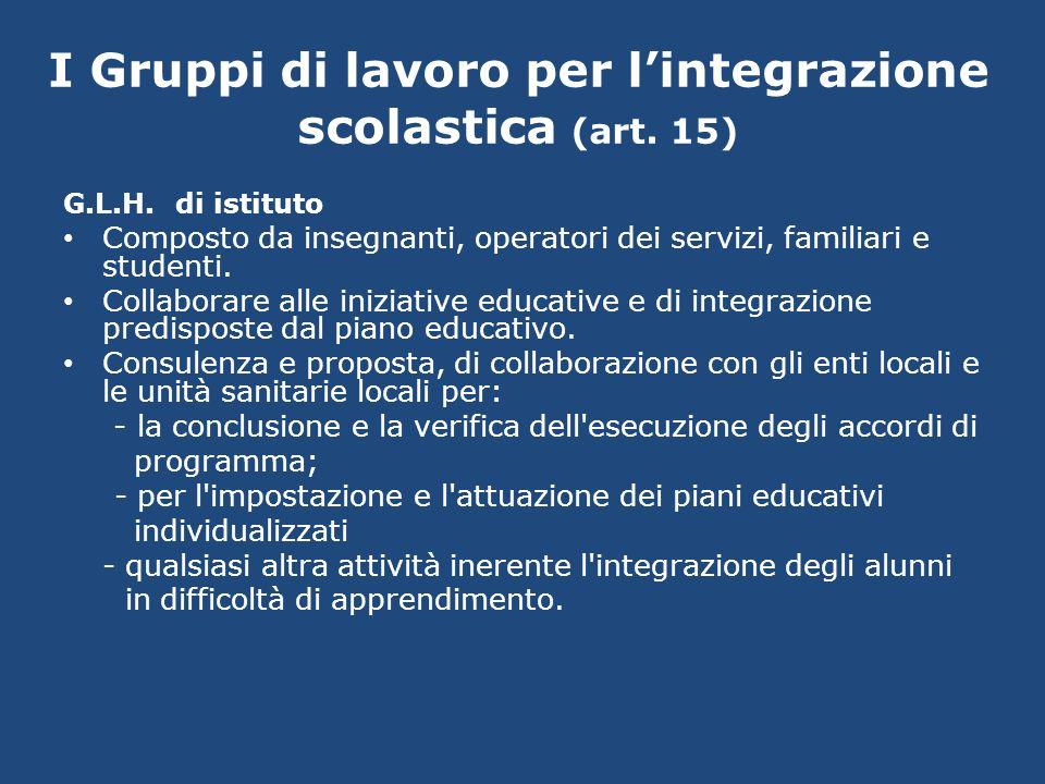 I Gruppi di lavoro per lintegrazione scolastica (art. 15) G.L.H. di istituto Composto da insegnanti, operatori dei servizi, familiari e studenti. Coll