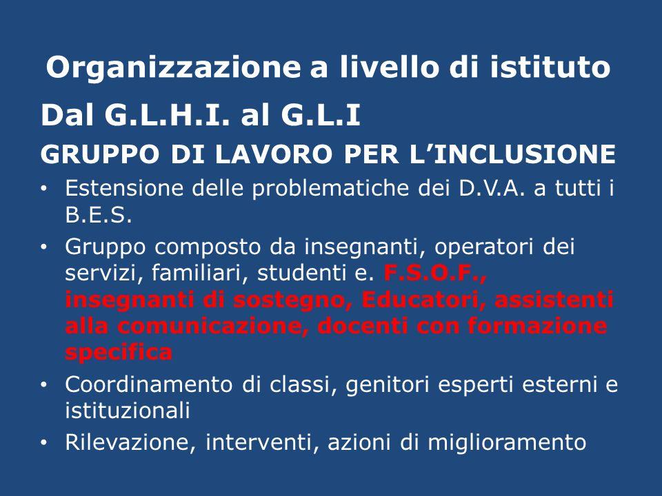 Organizzazione a livello di istituto Dal G.L.H.I. al G.L.I GRUPPO DI LAVORO PER LINCLUSIONE Estensione delle problematiche dei D.V.A. a tutti i B.E.S.