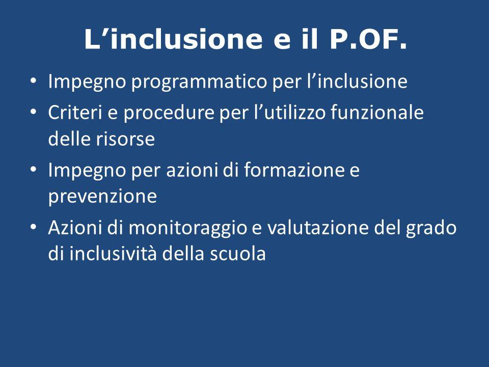 Linclusione e il P.OF. Impegno programmatico per linclusione Criteri e procedure per lutilizzo funzionale delle risorse Impegno per azioni di formazio