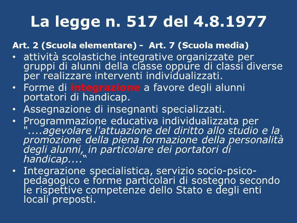 La legge n. 517 del 4.8.1977 Art. 2 (Scuola elementare) - Art. 7 (Scuola media) attività scolastiche integrative organizzate per gruppi di alunni dell