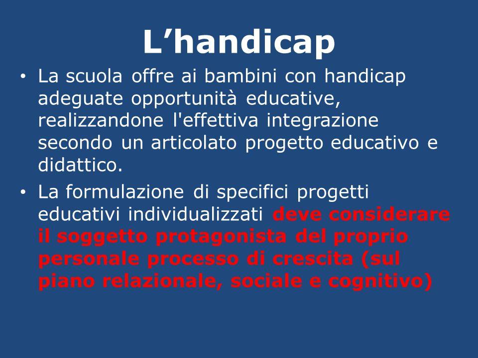 Lhandicap La scuola offre ai bambini con handicap adeguate opportunità educative, realizzandone l'effettiva integrazione secondo un articolato progett