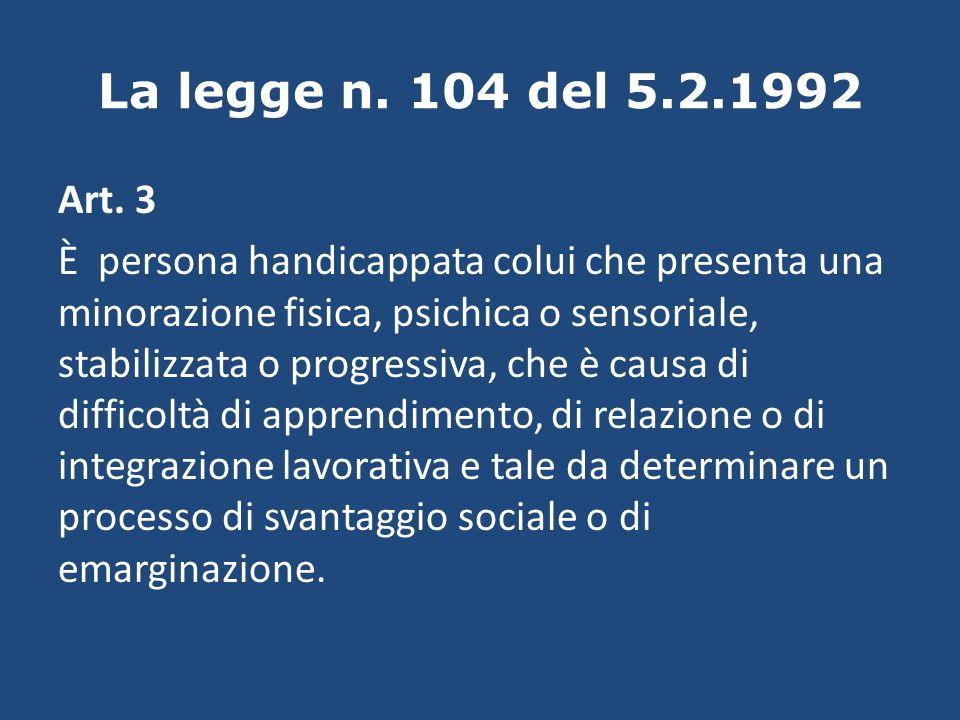 La legge n. 104 del 5.2.1992 Art. 3 È persona handicappata colui che presenta una minorazione fisica, psichica o sensoriale, stabilizzata o progressiv