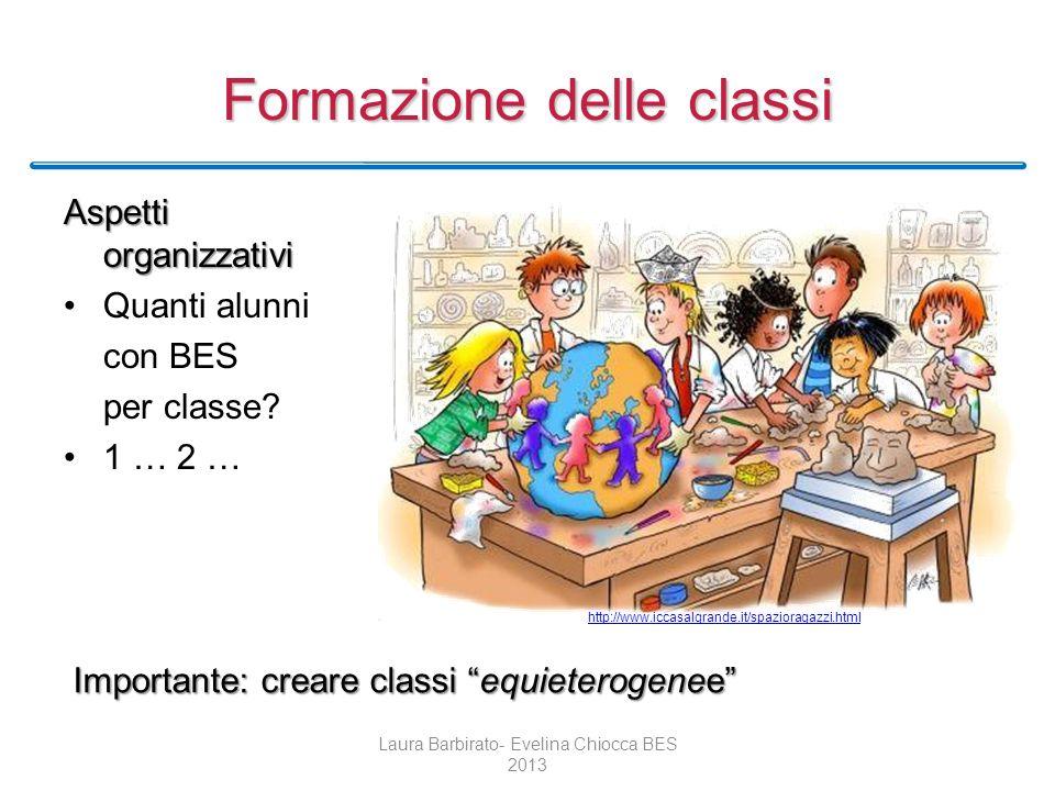 Formazione delle classi Aspetti organizzativi Quanti alunni con BES per classe? 1 … 2 … Laura Barbirato- Evelina Chiocca BES 2013 Importante: creare c