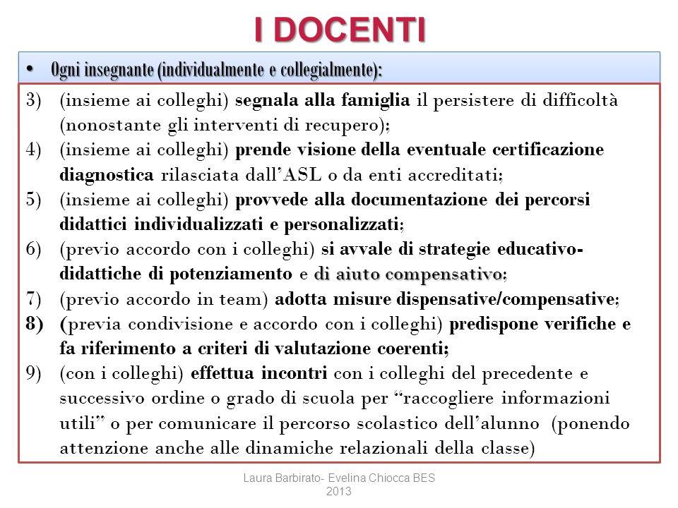 I DOCENTI Ogni insegnante (individualmente e collegialmente): Ogni insegnante (individualmente e collegialmente): 3)(insieme ai colleghi) segnala alla
