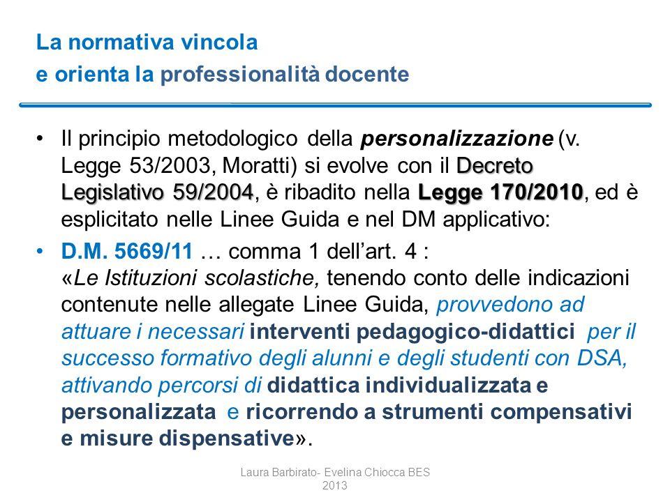 La normativa vincola e orienta la professionalità docente Decreto Legislativo 59/2004Legge 170/2010Il principio metodologico della personalizzazione (