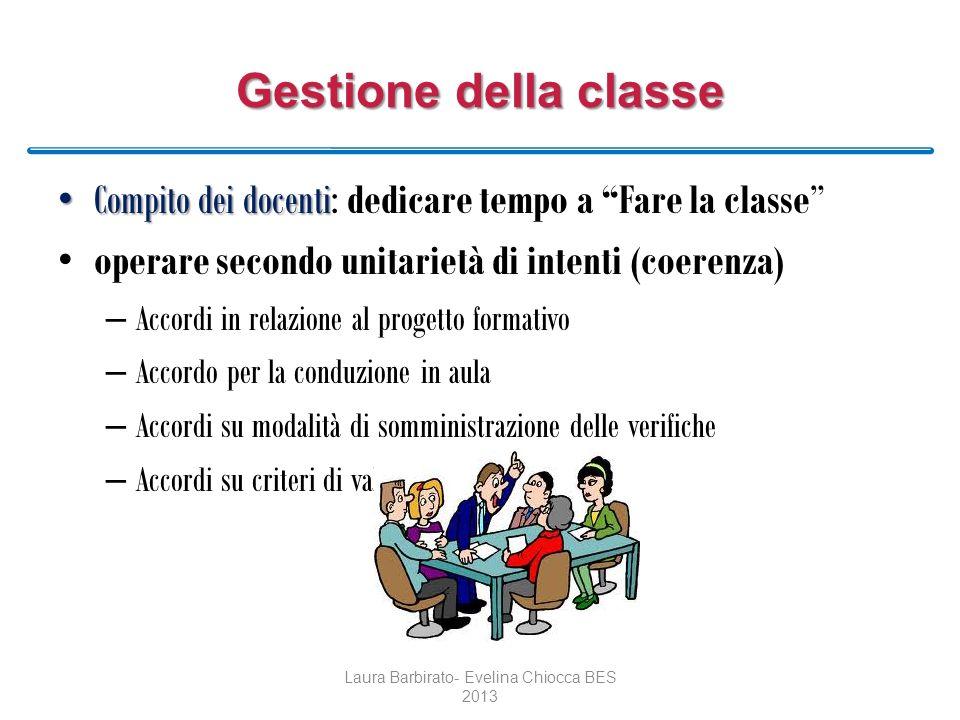 Gestione della classe Compito dei docenti Compito dei docenti: dedicare tempo a Fare la classe operare secondo unitarietà di intenti (coerenza) – Acco