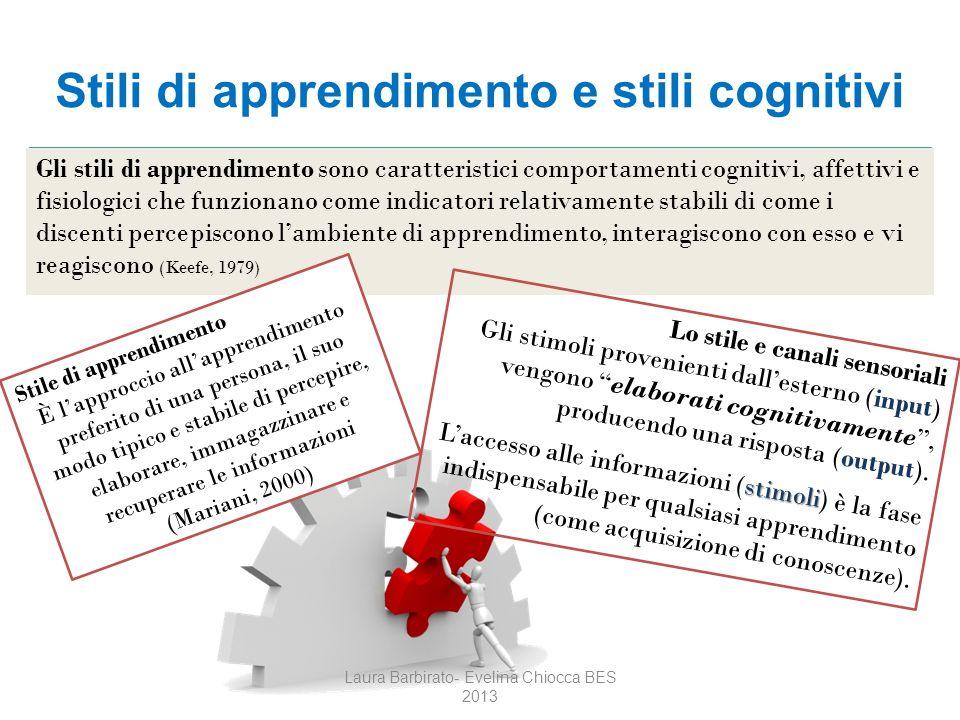 Stili di apprendimento e stili cognitivi Gli stili di apprendimento sono caratteristici comportamenti cognitivi, affettivi e fisiologici che funzionan