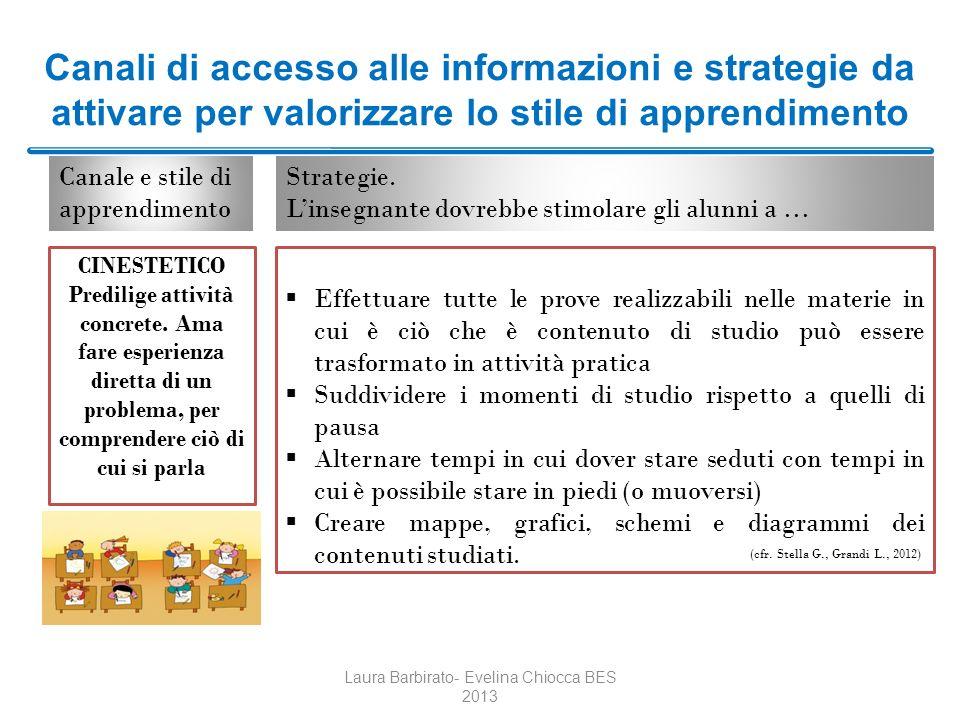 Canali di accesso alle informazioni e strategie da attivare per valorizzare lo stile di apprendimento Laura Barbirato- Evelina Chiocca BES 2013 Effett