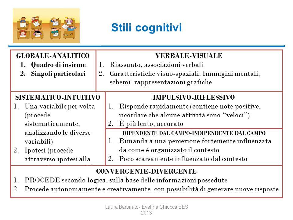 Stili cognitivi Laura Barbirato- Evelina Chiocca BES 2013 GLOBALE-ANALITICO 1.Quadro di insieme 2.Singoli particolari SISTEMATICO-INTUITIVO 1.Una vari