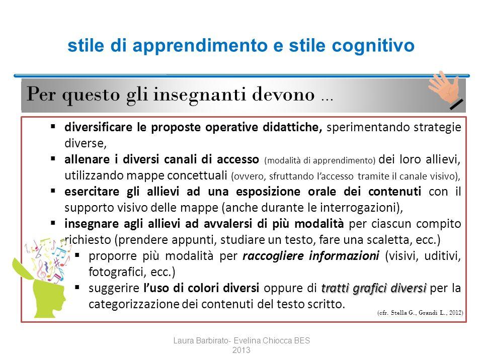 stile di apprendimento e stile cognitivo Per questo gli insegnanti devono … Laura Barbirato- Evelina Chiocca BES 2013 diversificare le proposte operat