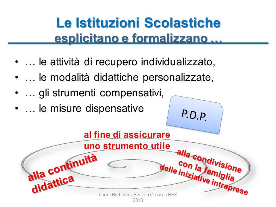 Le Istituzioni Scolastiche esplicitano e formalizzano … … le attività di recupero individualizzato, … le modalità didattiche personalizzate, … gli str