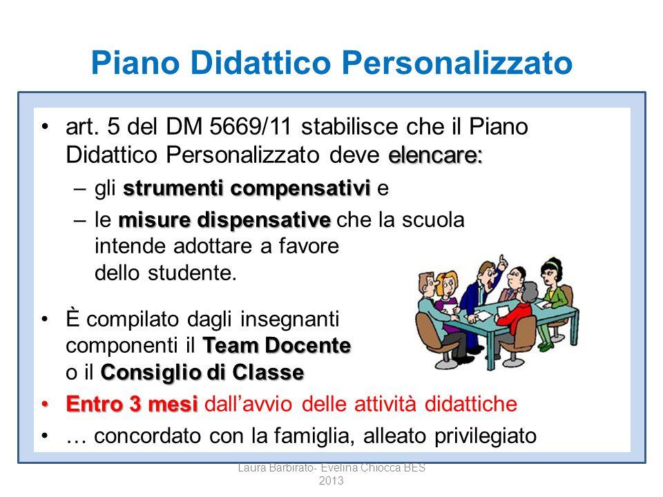 Piano Didattico Personalizzato elencare:art. 5 del DM 5669/11 stabilisce che il Piano Didattico Personalizzato deve elencare: strumenti compensativi –