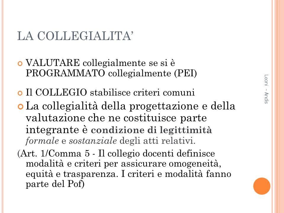 LA COLLEGIALITA VALUTARE collegialmente se si è PROGRAMMATO collegialmente (PEI) Il COLLEGIO stabilisce criteri comuni La collegialità della progettaz