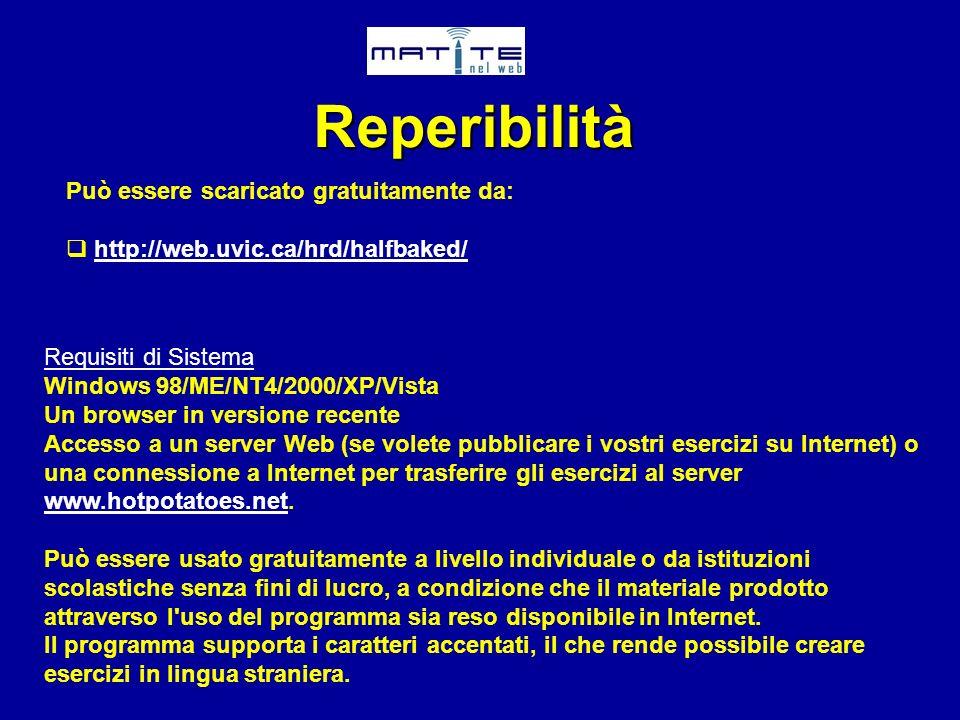 Reperibilità Può essere scaricato gratuitamente da: http://web.uvic.ca/hrd/halfbaked/ Requisiti di Sistema Windows 98/ME/NT4/2000/XP/Vista Un browser