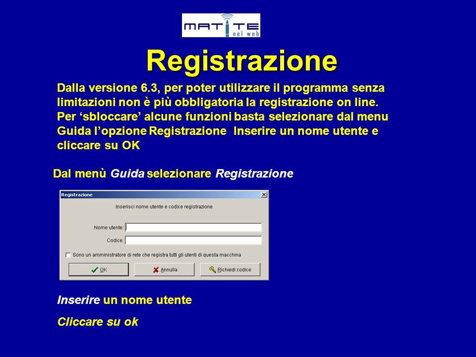 Registrazione Dalla versione 6.3, per poter utilizzare il programma senza limitazioni non è più obbligatoria la registrazione on line. Per sbloccare a