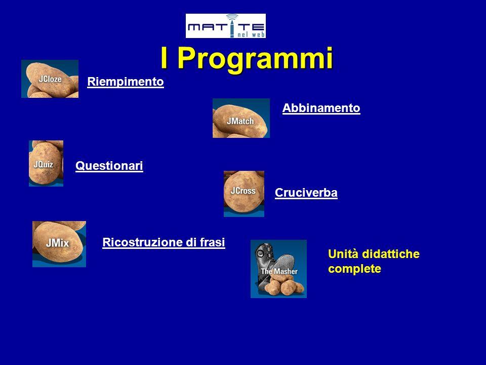 Riempimento Abbinamento Questionari Cruciverba Ricostruzione di frasi Unità didattiche complete I Programmi