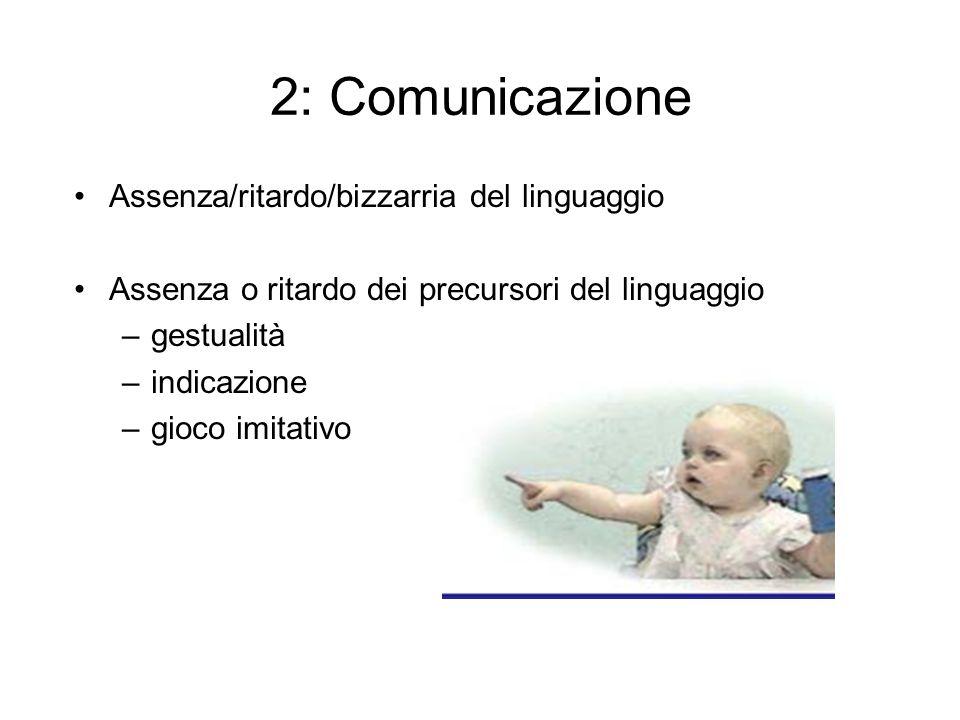 2: Comunicazione Assenza/ritardo/bizzarria del linguaggio Assenza o ritardo dei precursori del linguaggio –gestualità –indicazione –gioco imitativo