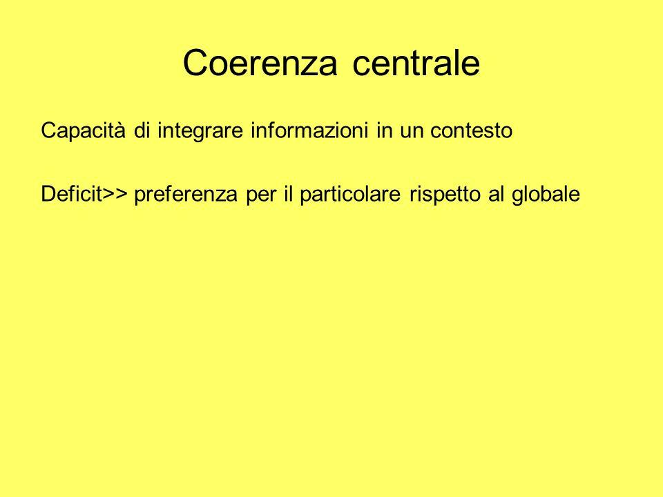 Coerenza centrale Capacità di integrare informazioni in un contesto Deficit>> preferenza per il particolare rispetto al globale
