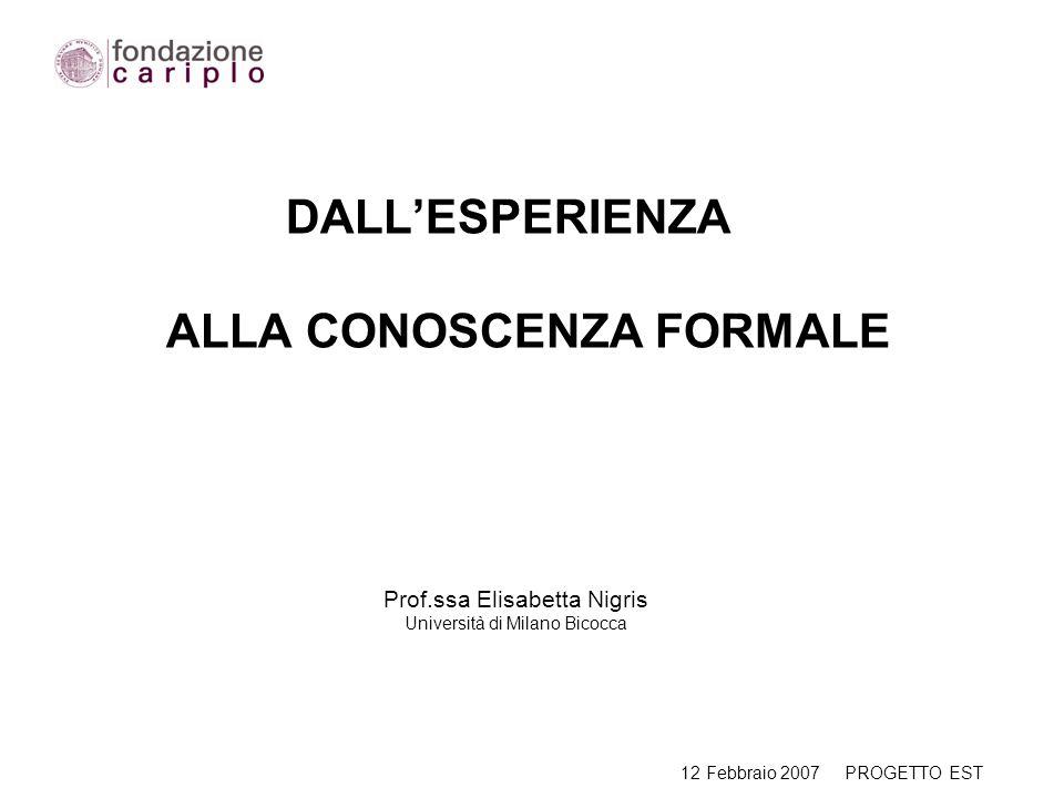 DALLESPERIENZA ALLA CONOSCENZA FORMALE Prof.ssa Elisabetta Nigris Università di Milano Bicocca 12 Febbraio 2007 PROGETTO EST