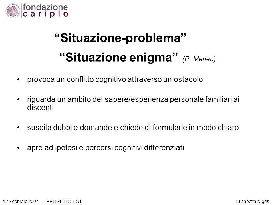 Situazione-problema Situazione enigma (P. Merieu) provoca un conflitto cognitivo attraverso un ostacolo riguarda un ambito del sapere/esperienza perso