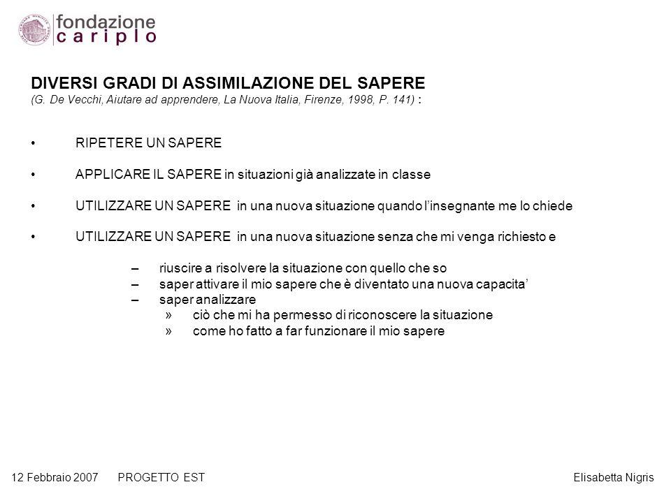 12 Febbraio 2007 PROGETTO EST Elisabetta Nigris DIVERSI GRADI DI ASSIMILAZIONE DEL SAPERE (G. De Vecchi, Aiutare ad apprendere, La Nuova Italia, Firen