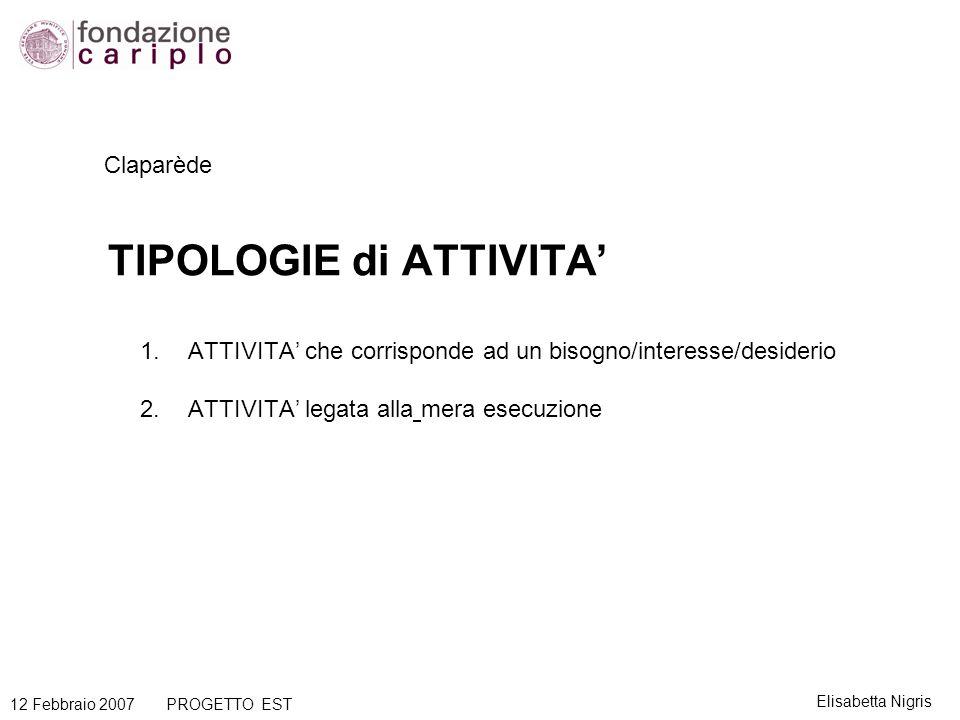 Claparède TIPOLOGIE di ATTIVITA 1.ATTIVITA che corrisponde ad un bisogno/interesse/desiderio 2.ATTIVITA legata alla mera esecuzione Elisabetta Nigris