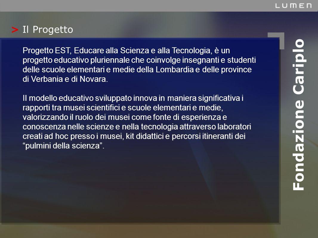 > Il Progetto Fondazione Cariplo Progetto EST, Educare alla Scienza e alla Tecnologia, è un progetto educativo pluriennale che coinvolge insegnanti e studenti delle scuole elementari e medie della Lombardia e delle province di Verbania e di Novara.