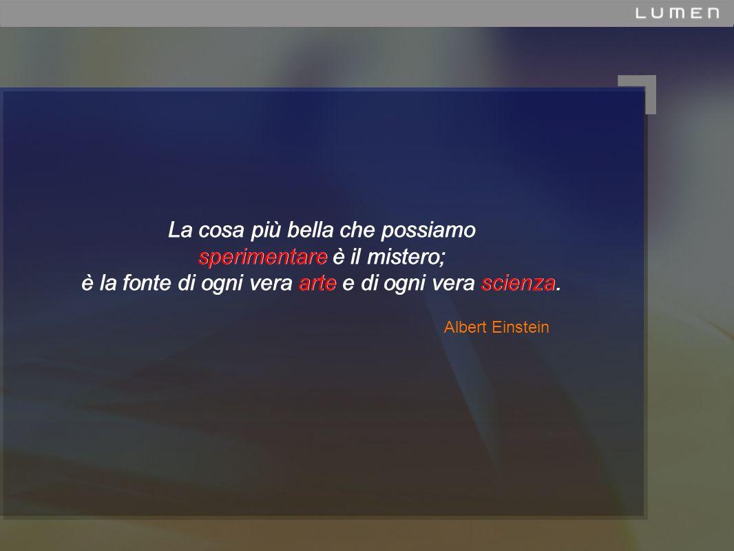 Albert Einstein La cosa più bella che possiamo sperimentare è il mistero; è la fonte di ogni vera arte e di ogni vera scienza.