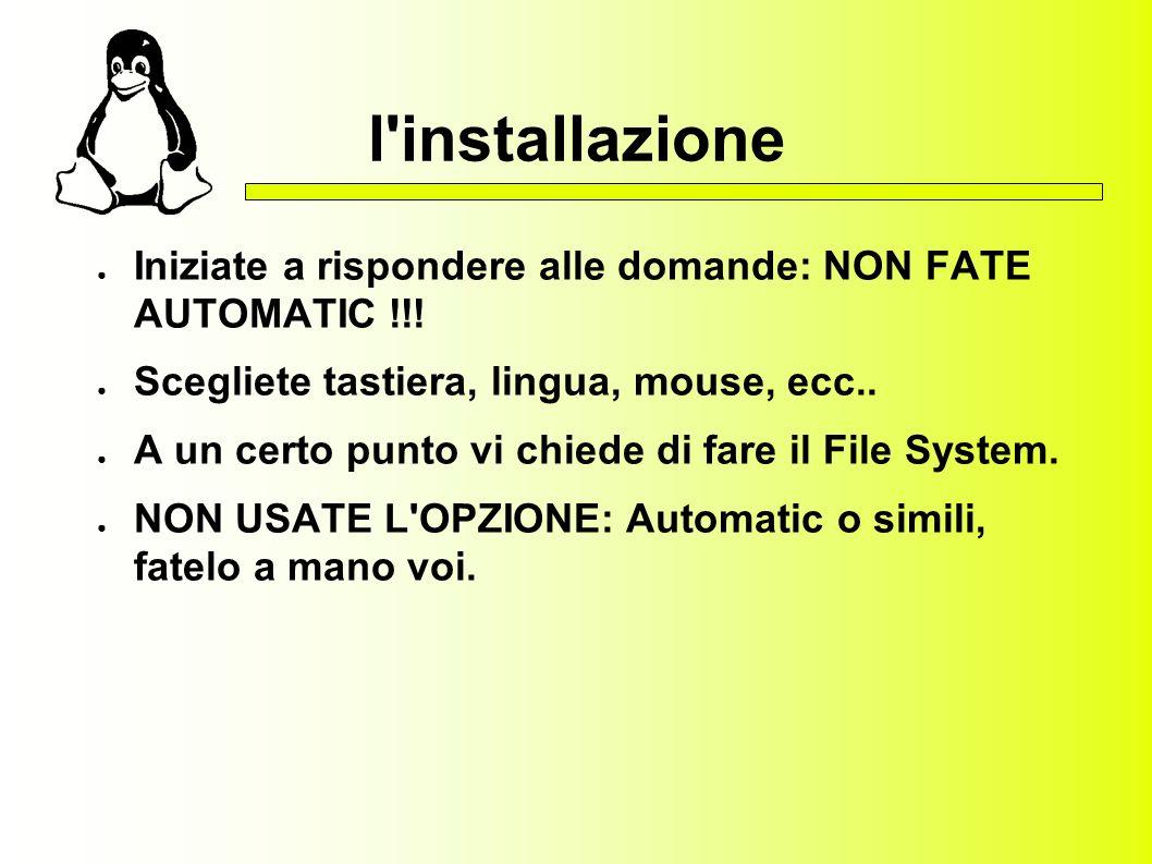 l installazione Un buon file system per Linux deve avere /boot == max 100 MB /swap == 1 o 2 volte la RAM che avete / il resto (OKKIO: / e NON \ !!!) Poi, quando sarete piu esperti potrete sbizzarrirvi...