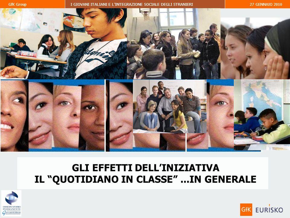 GfK GroupI GIOVANI ITALIANI E LINTEGRAZIONE SOCIALE DEGLI STRANIERI27 GENNAIO 2010 GLI EFFETTI DELLINIZIATIVA IL QUOTIDIANO IN CLASSE...IN GENERALE