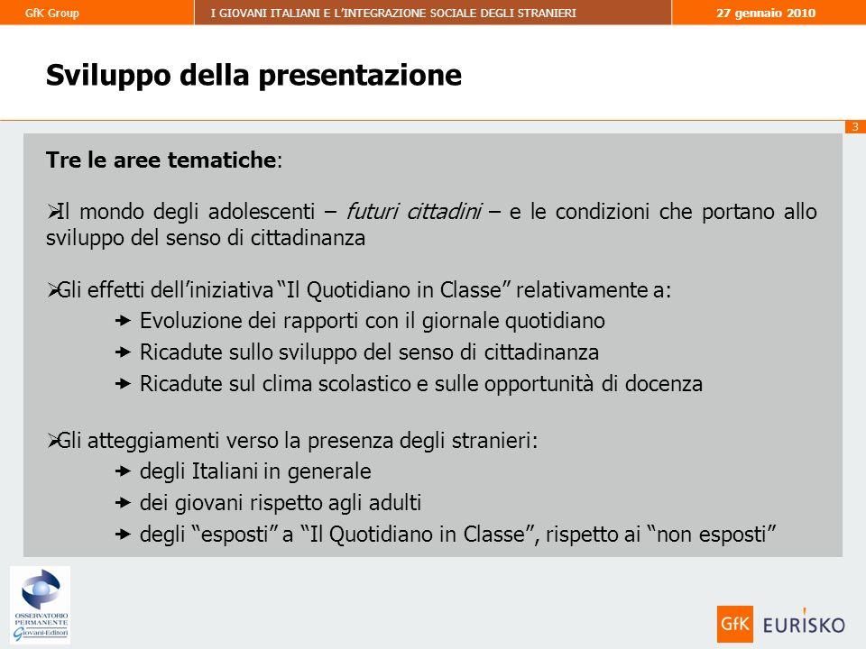 14 GfK GroupI GIOVANI ITALIANI E LINTEGRAZIONE SOCIALE DEGLI STRANIERI27 gennaio 2010 Valutazioni del quotidiano prima e dopo liniziativa MOLTO (5) ABBASTANZA (4) COSÌ COSÌ (3) PER NIENTE (1) POCO (2) Non indica Media: 3.41 Media: 3.75 DOPO LINIZIATIVA VICINANZA AL QUOTIDIANO COME MEZZO DINFORMAZIONE PRIMA DELLINIZIATIVA SODDISFAZIONE PER IL QUOTIDIANO STUDENTI Prima di questa esperienza eri soddisfatto della lettura di un quotidiano.