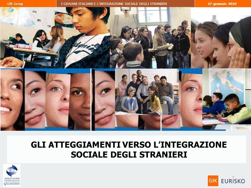 31 GfK GroupI GIOVANI ITALIANI E LINTEGRAZIONE SOCIALE DEGLI STRANIERI27 gennaio 2010 GLI ATTEGGIAMENTI VERSO LINTEGRAZIONE SOCIALE DEGLI STRANIERI