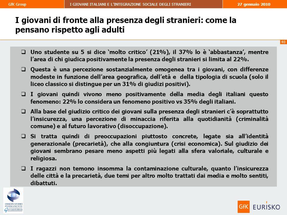 40 GfK GroupI GIOVANI ITALIANI E LINTEGRAZIONE SOCIALE DEGLI STRANIERI27 gennaio 2010 I giovani di fronte alla presenza degli stranieri: come la pensano rispetto agli adulti Uno studente su 5 si dice molto critico (21%), il 37% lo è abbastanza, mentre larea di chi giudica positivamente la presenza degli stranieri si limita al 22%.