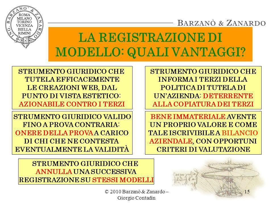© 2010 Barzanò & Zanardo – Giorgio Contadin 15 LA REGISTRAZIONE DI MODELLO: QUALI VANTAGGI? STRUMENTO GIURIDICO CHE TUTELA EFFICACEMENTE LE CREAZIONI